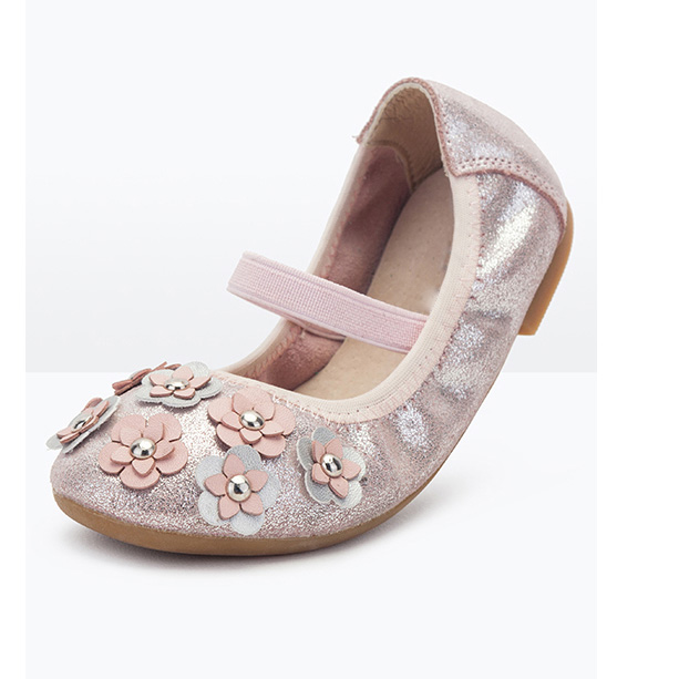 fold up fancy flower kid shoes sweet girl leather comfortable princess children dance shoes