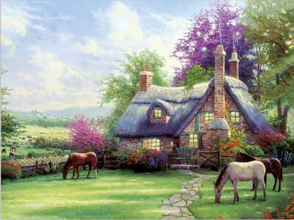 Peaceful village house 3d scenery picture