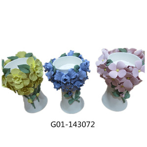 Wholesale tiffany candle holder with ceramic material