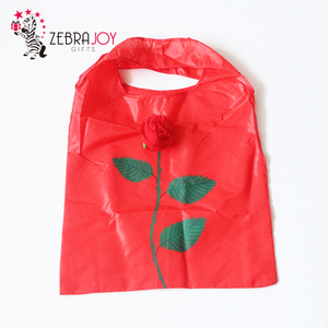 Promotion gifts red rose shaped custom reusable folding bags nylon foldable shopping bag