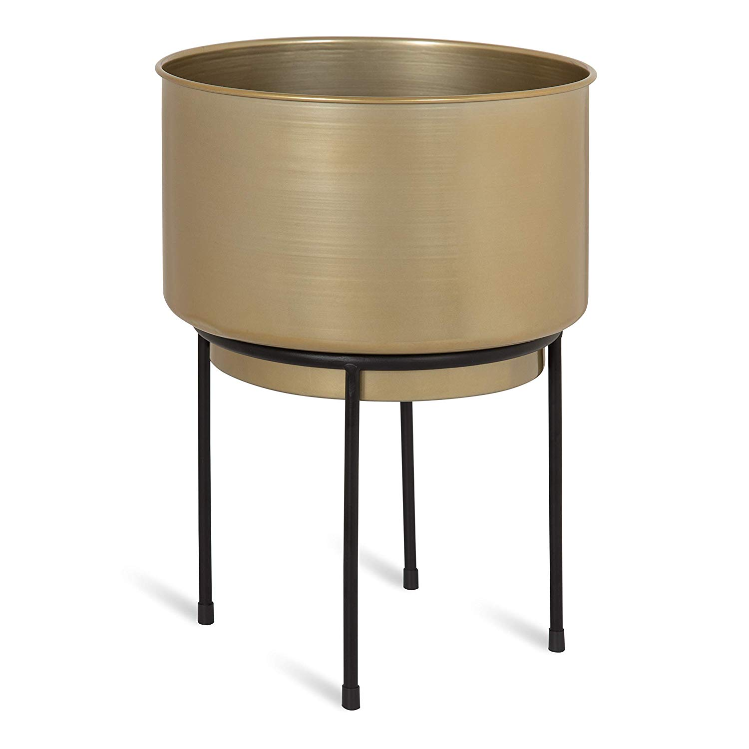 Kate and Laurel Indya Indoor Decorative Metal Planter with 10-Inch Round Gold Pot and Black Metal Framework Stand