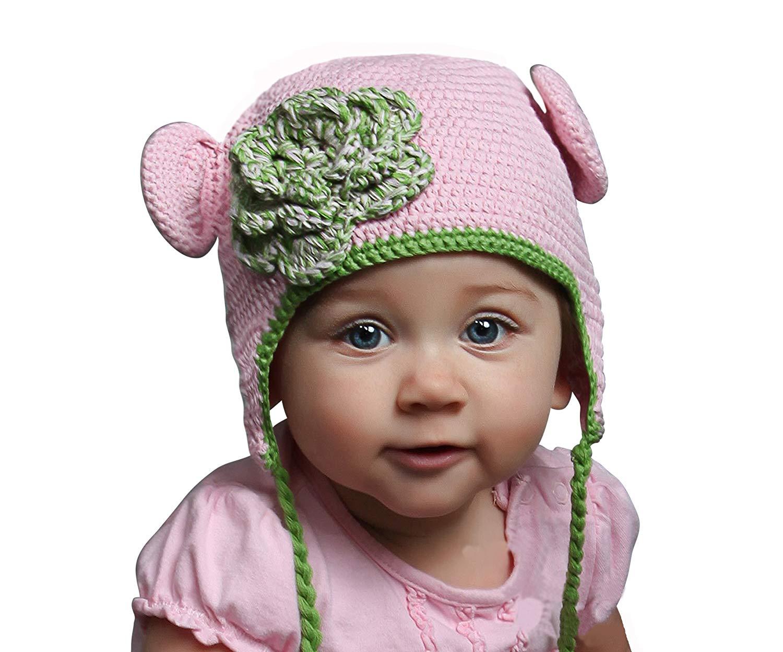Handmade Striped Crochet Beanie Melondipity Pink Daisy Baby Girl Baby Hat