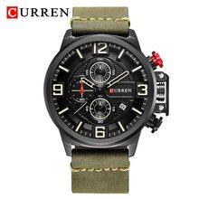 Часы CURREN Мужские, топовый бренд, роскошный кожаный ремешок, мужские наручные часы, спортивные часы для мужчин, кварцевые, с секундомером, вод...(Китай)