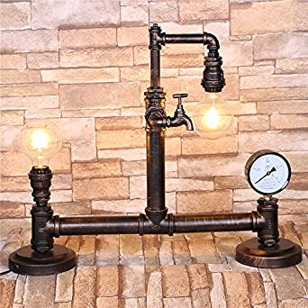 foldable desk lamp&Retro table lamp&Work lamp table lamp&LED desk lamp&Wood table lamps&Lamp shades for table lamps&Tripod table lamp Industrial vintage wrought-iron pipe table lamp (680160540mm)