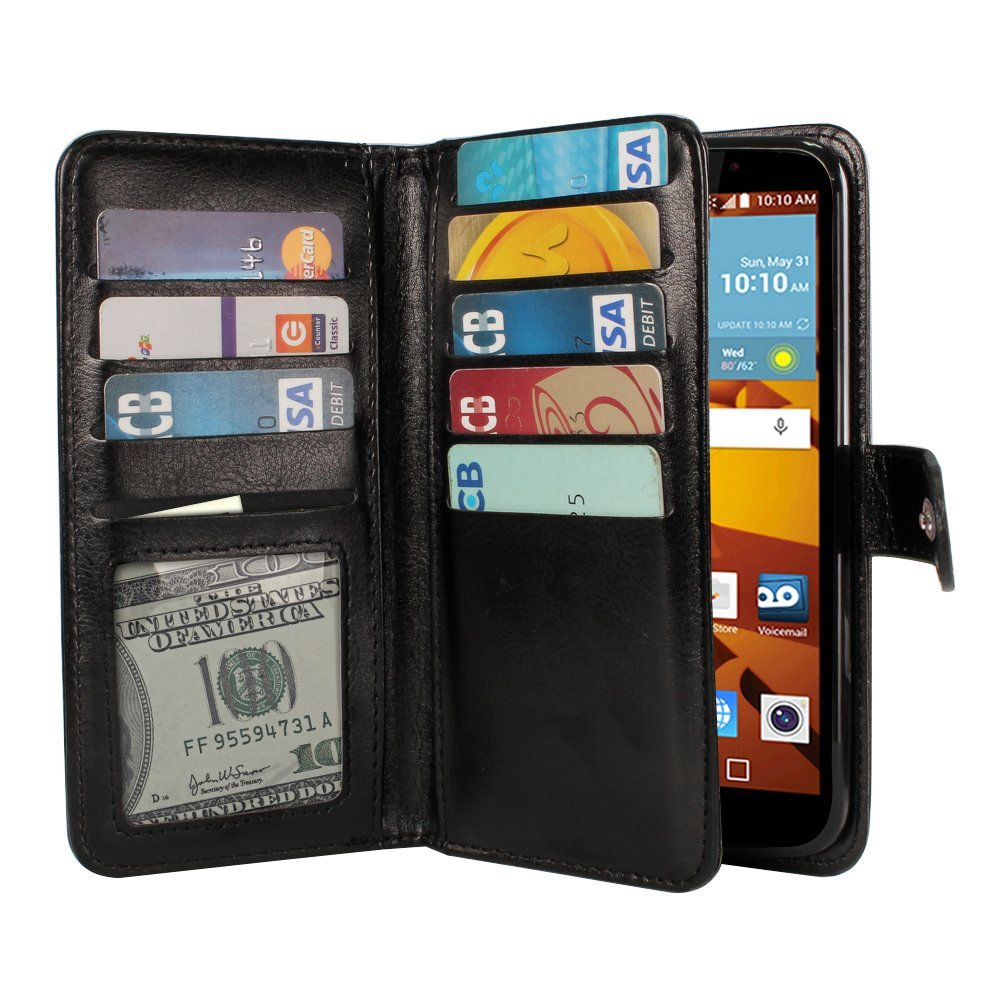 NextKin Case For LG G Stylo LS770 G4 Note G Vista 2 H740 2nd 2015, PU Leather Dual Wallet Folio TPU Cover, Pockets Double flap Privacy, 9 Card Slots Holder Snap Button & Wrist Strap - Black