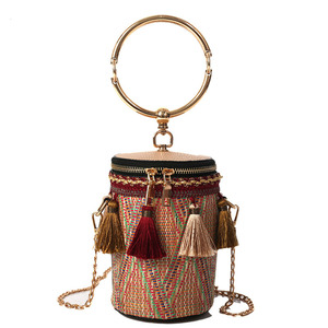 Bohemian Ethnic style straw bag colorful round chain shoulder bag tassel Messenger bag