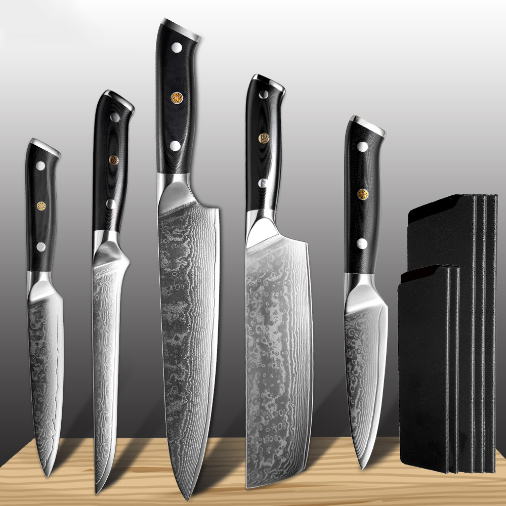 Damascus Kitchen Knife Set 5PCS Forged Steel Japanese Damascus Steel Knife vg10 Cooking Fillet Fish Chef Knife CN