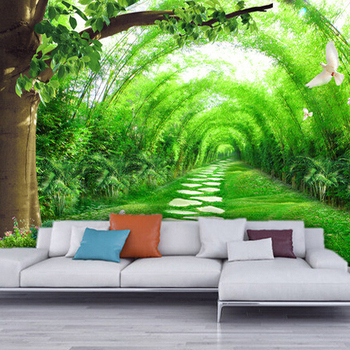 Home living room tv background 3d bamboo mural thai wall for Nature wallpaper designs for living room