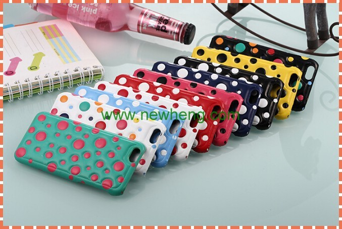 Fashion 3D Polka Dot Pc+Pu Leather Cover Phone Case For iphone 6