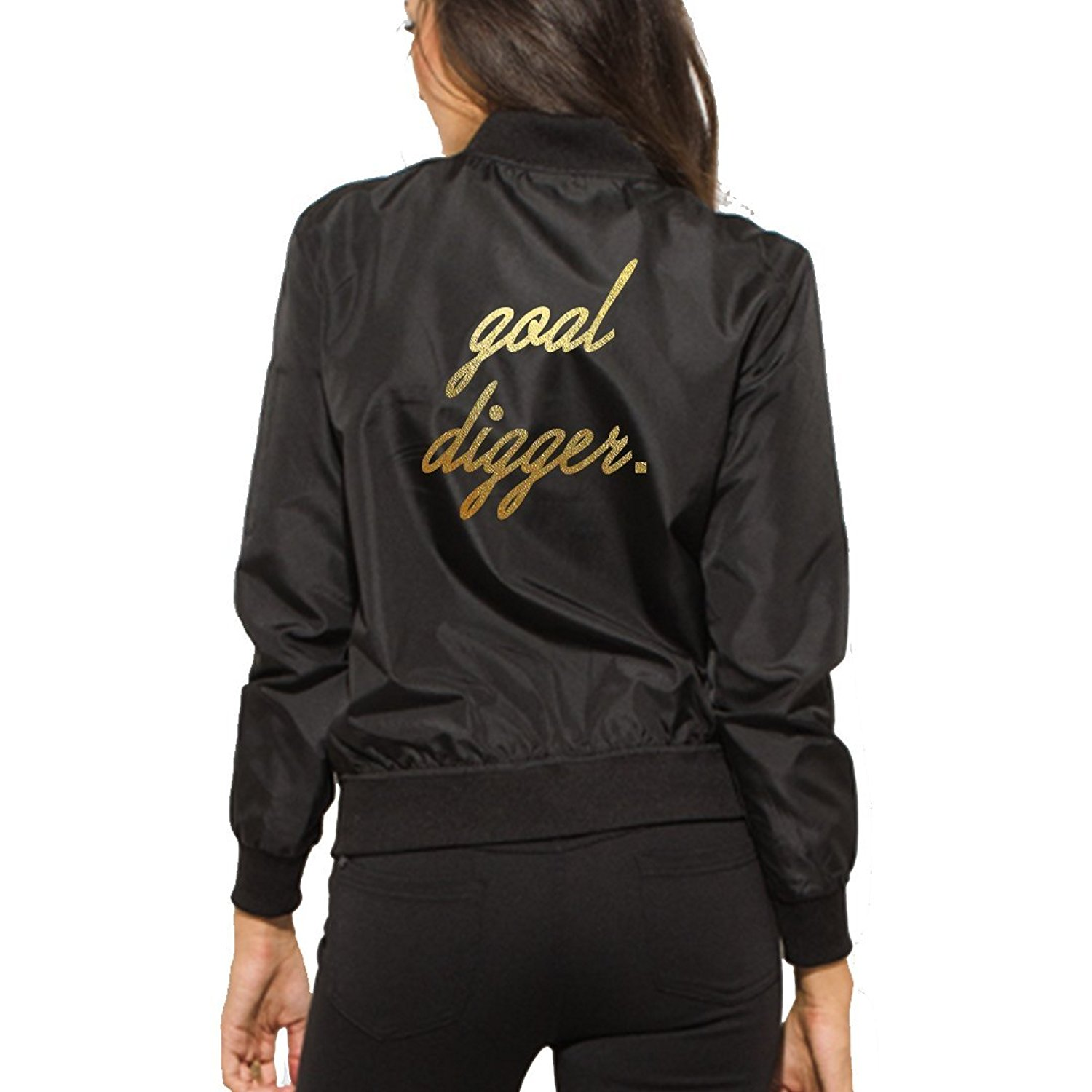 8ad0609ab14 Get Quotations · A Dash of Chic Goal Digger Womens Black Bomber Jacket- Zip  up Womens Fashion Bomber