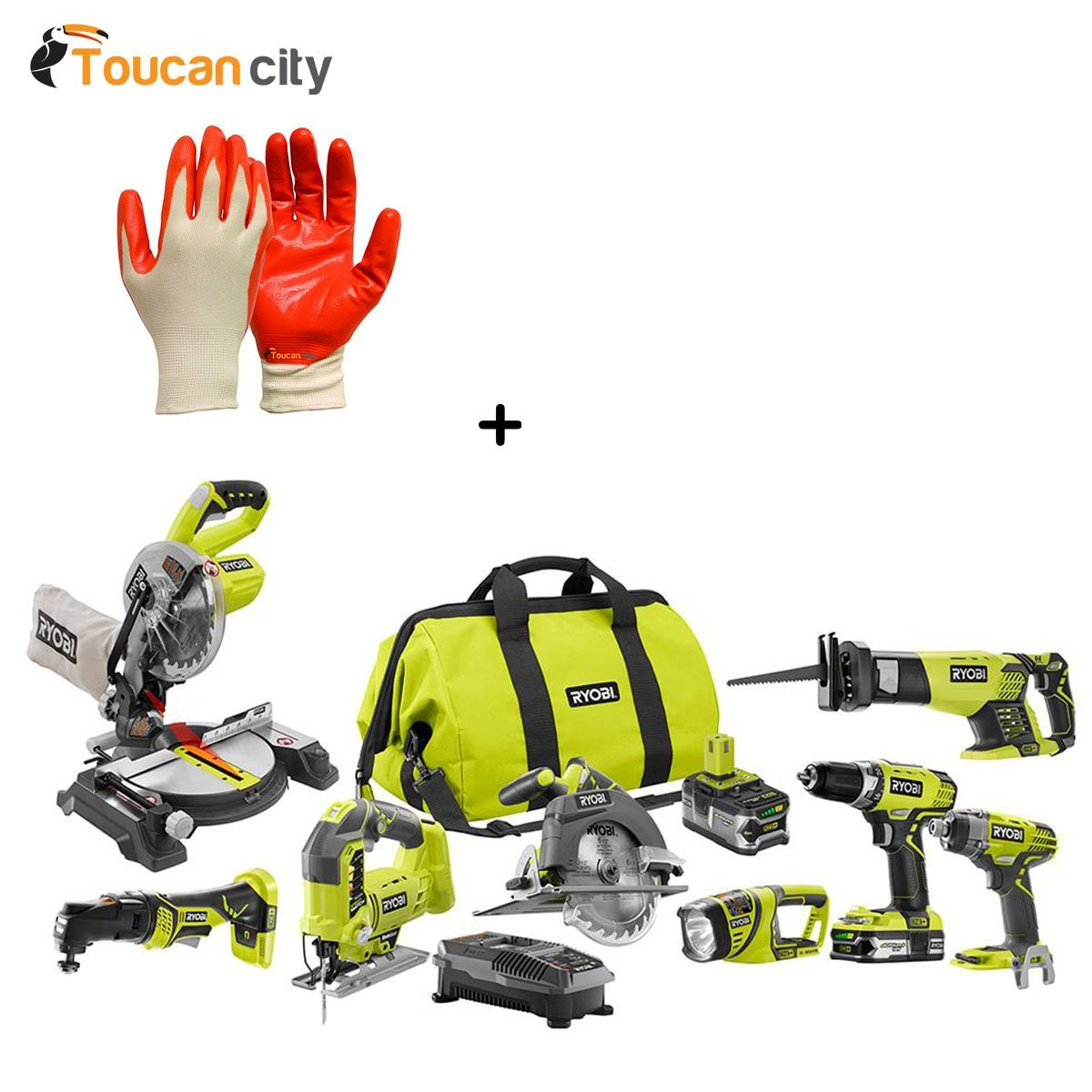 Ryobi 18-Volt ONE+ Lithium-Ion Cordless (8-Tool) Combo Kit with (1) 4.0 Ah Battery and (1) 1.5 Ah Battery, Charger and Bag P1894 and Toucan City Nitrile Dip Gloves(5-Pack)