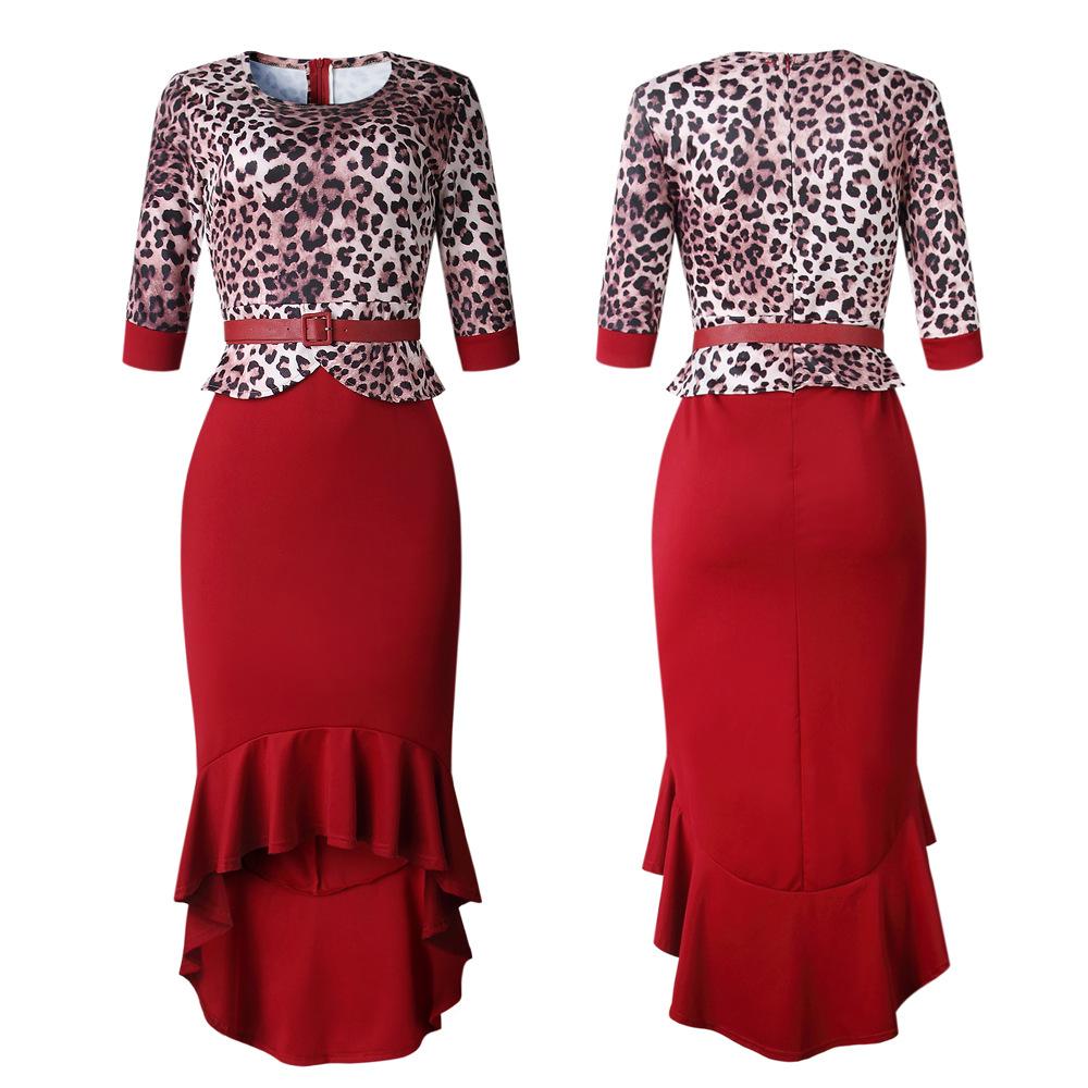 Autumn high quality leopard stitching women fishtail vestidos de fiesta evening mermaid ruffled wedding dress with belt A117