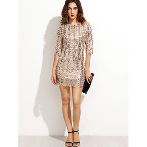 Sequin Bandage Dress 2018 Scoop Neck Half Sleeve Sexy Bodycon Dress With Bow Ladies Sexy Valentine's Day Dress E1790-1