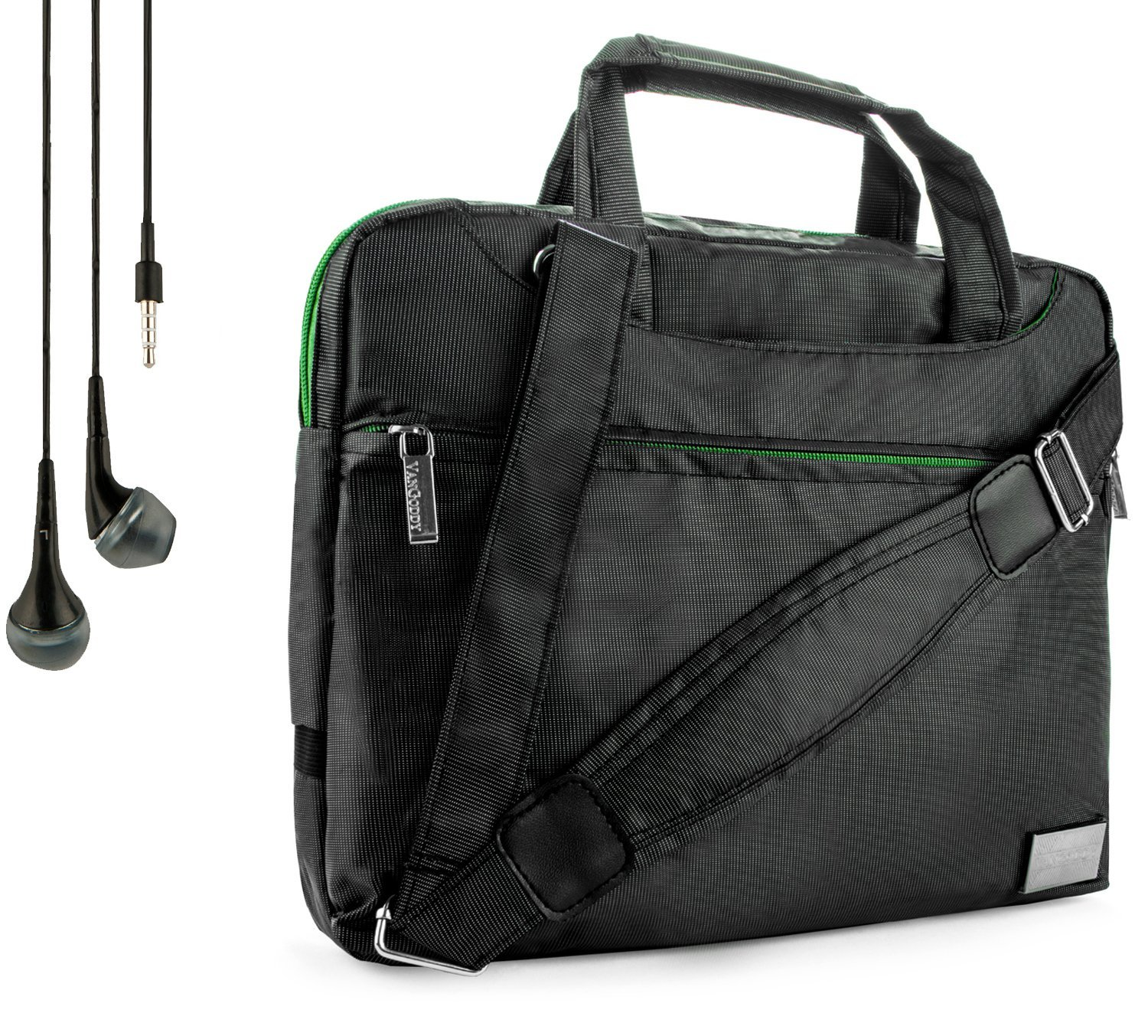 """NineO Sport Nylon Shoulder Bag Carrying Case For Kocaso Android Tablet PC 9"""" M9200 Capacitive + Handsfree Earphones"""