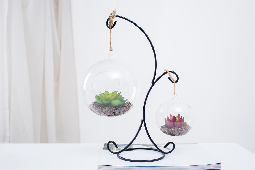 new design wholesale cute hanging glass ball home garden indoor outdoor decoration artificial succulent plants potted for sale