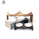 Elevated Dog and Cat Pet Feeder, Double Bowl Raised Stand Comes with 2 China Dishes