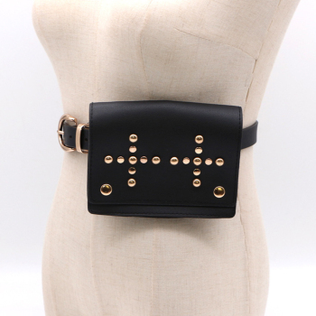 Black punk rivet belt bag