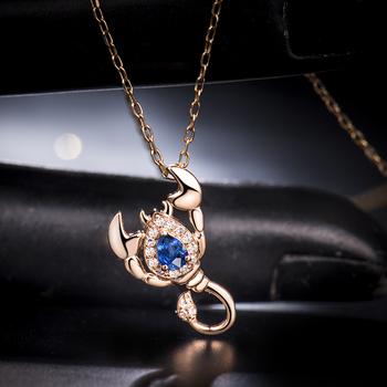 750 rose gold diamond scorpio pendantin solid 18k rose gold natural 750 rose gold diamond scorpio pendant in solid 18k rose gold natural blue sapphire scorpio mozeypictures Gallery