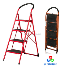 Steel metal folding 4 steps ladder with safety rail