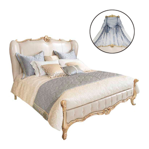 Royal French Palace Princess Soft Bed with Golden Crown and Drape, Royal Golden Bedroom Set BF11-09292k