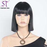 Guangzhou Wig Wholesaler Black Bob Machine Made Heat Resistant Synthetic Hair 12.5inch 1380 Full Wigs For Black Women