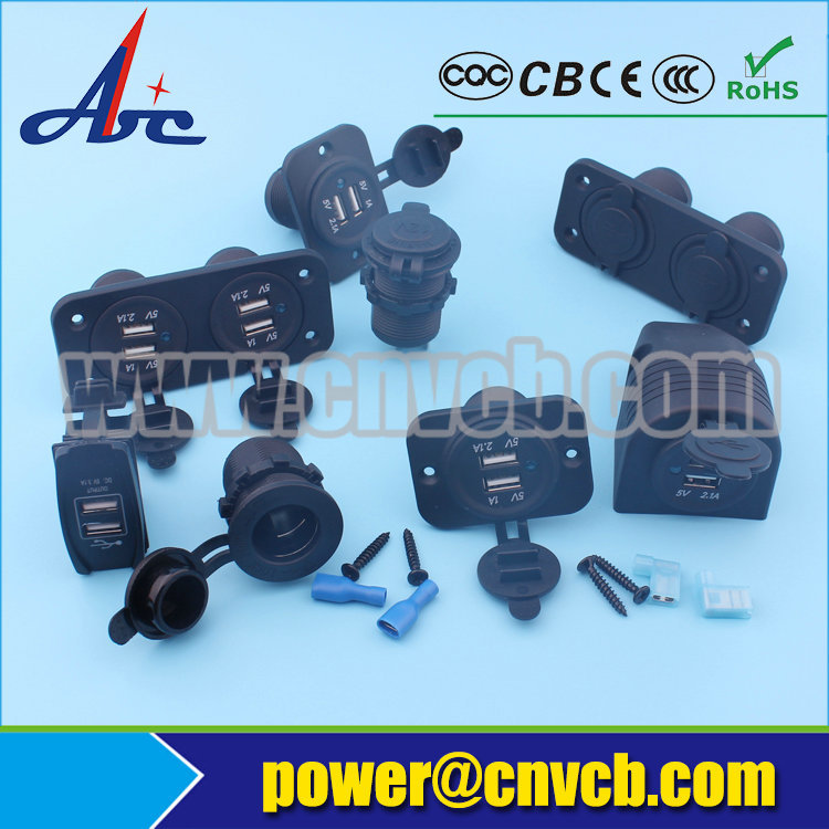 MD51 Two Hole Tent Combination socket Car Cigarette Lighter Socket &Voltmeter Voltage Power Socket For Auto Truck