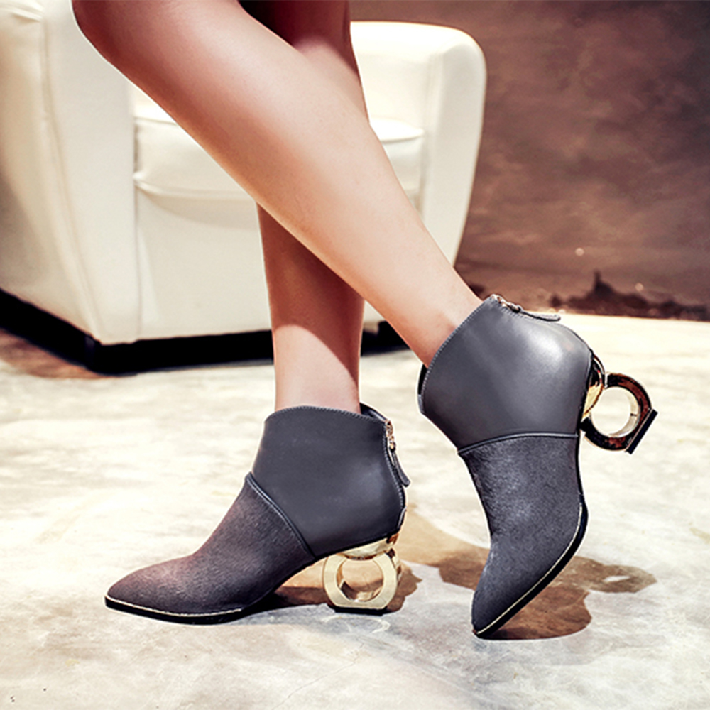 leather boots ladies upper genuine material pointed girls pure ankle shoes toe stylish Summer U7qTgRYx