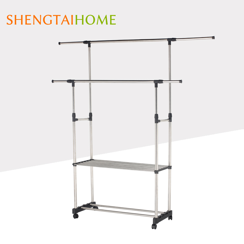 Double Poles And Tiers New Type Balcony Telescopic Design Clothes Hangers