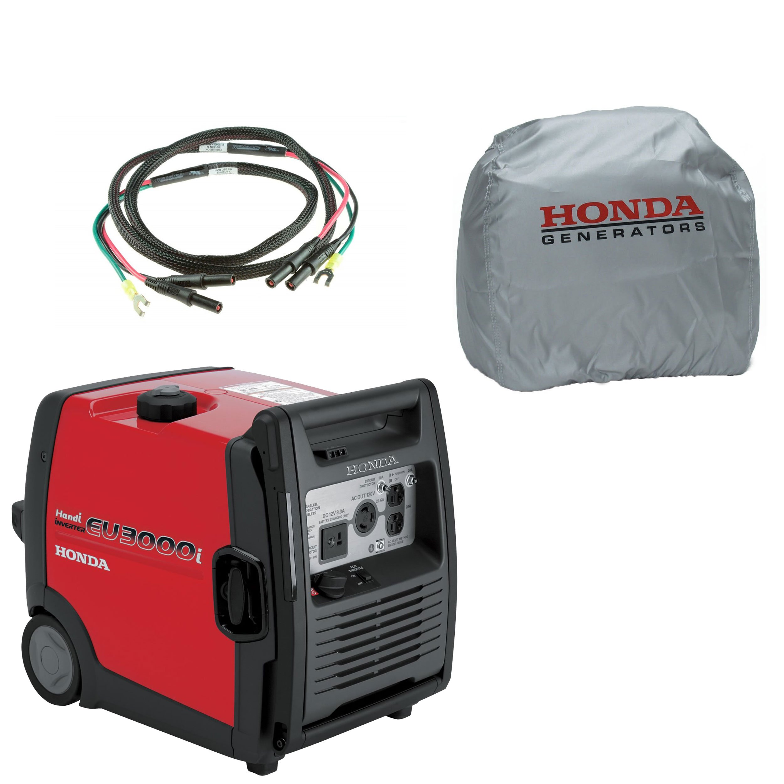 Get Quotations · Honda EU3000I Handi 3000W 120V Inverter Gas Generator,  Parallel Cord, Cover