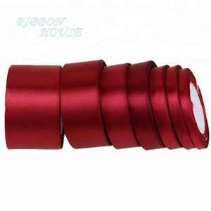 Wine Red Single Face Satin Ribbon Wholesale Gift Wrapping Christmas ribbons (25 yards/roll)
