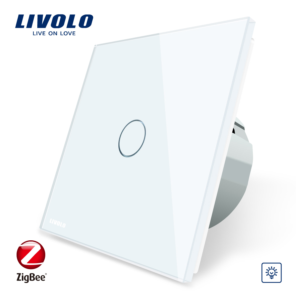 Nieuwe LIVOLO VL-C7 1 gang 1way touch sensor switch zigbee power touch muur lichtschakelaar