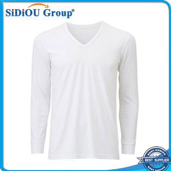 fc16503ebb8 Men s Long Sleeve Plain White V Neck T Shirt - Buy Plain White V ...