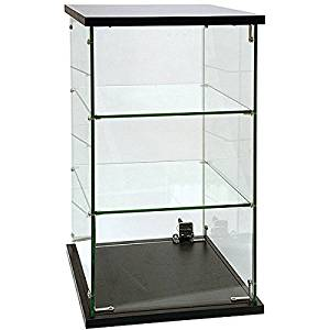 Countertop Showcase Merchandiser Two Glass Shelves Display Store Knockdown New