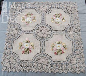 livraison gratuite 85 cm carr crochet table de dentelle tissu pour mariage avec des fleurs de. Black Bedroom Furniture Sets. Home Design Ideas