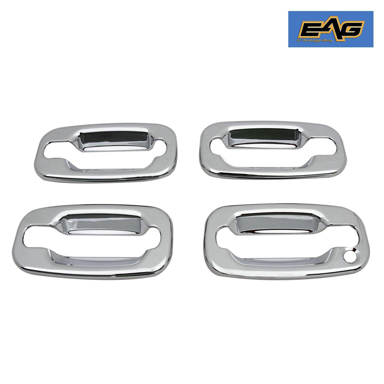 EAG 99-06 Chevy Silverado/GMC Sierra 1500/01-06 Silverado/Sierra 2500/3500/00-06 Surburban/Tahoe/GMC Yukon/02-06 Cadillac Escalade/EXT Chrome 4 Door Handle Cover W/O Passenger Key Hole