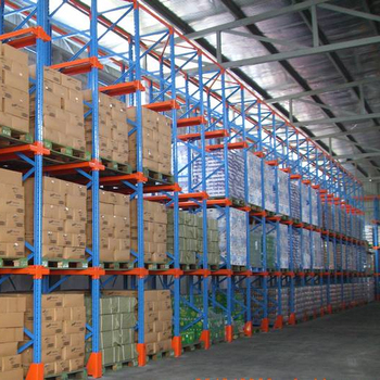 CE blue and orange warehouse drive in pallet rack system
