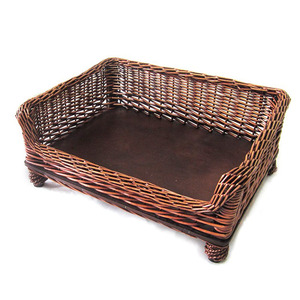 Willow Pet Bed Cushion,Wicker Pet Basket For All Sized Dogs Cats Pets