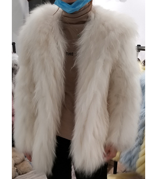 Chinese Supplier Women Real Raccoon Fur Hooded Winter Coat