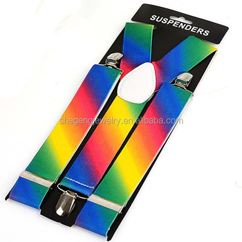 Rainbow Striped Clip Suspenders
