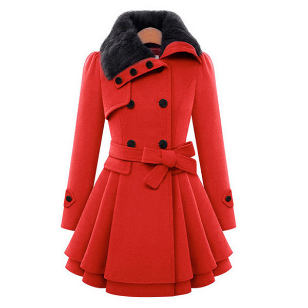 Walson 2016 Fashion Women Warm Red Trench Coat Lapel Double-Breasted Rabbit Fur Wool Long Ladies Winter Coats фото
