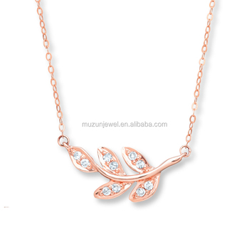 High quality 925 pure sterling silver rose gold plated leaf pendant high quality 925 pure sterling silver rose gold plated leaf pendant necklace aloadofball Image collections