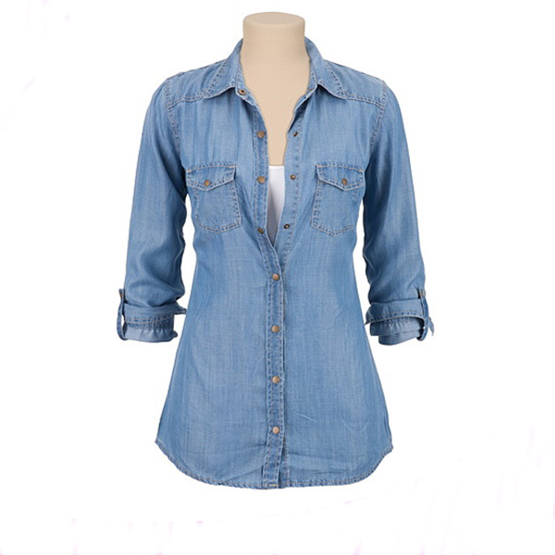 Ladies denim blouse formal office suits designs lady clothing