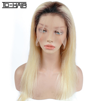 150% Density Ombre Blonde 1B 613 Full Lace Wig, Long Blonde Human Hair Wig, 100% Human Hair Blonde Full Lace Wigs Dark Root