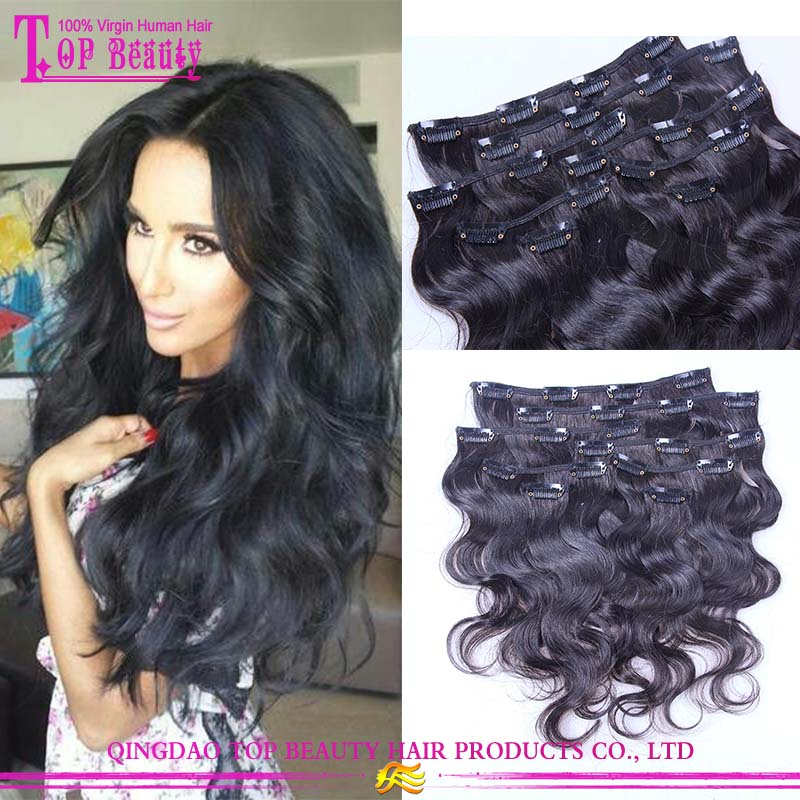 12 Inch best quality pretty brazilian wet and wavy clip in hair extensions  for black women 812e5bbc82