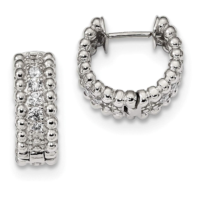 Sterling Silver 22mm Diameter Five Rectangular Cubic Zirconia Huggie Hoop Earrings
