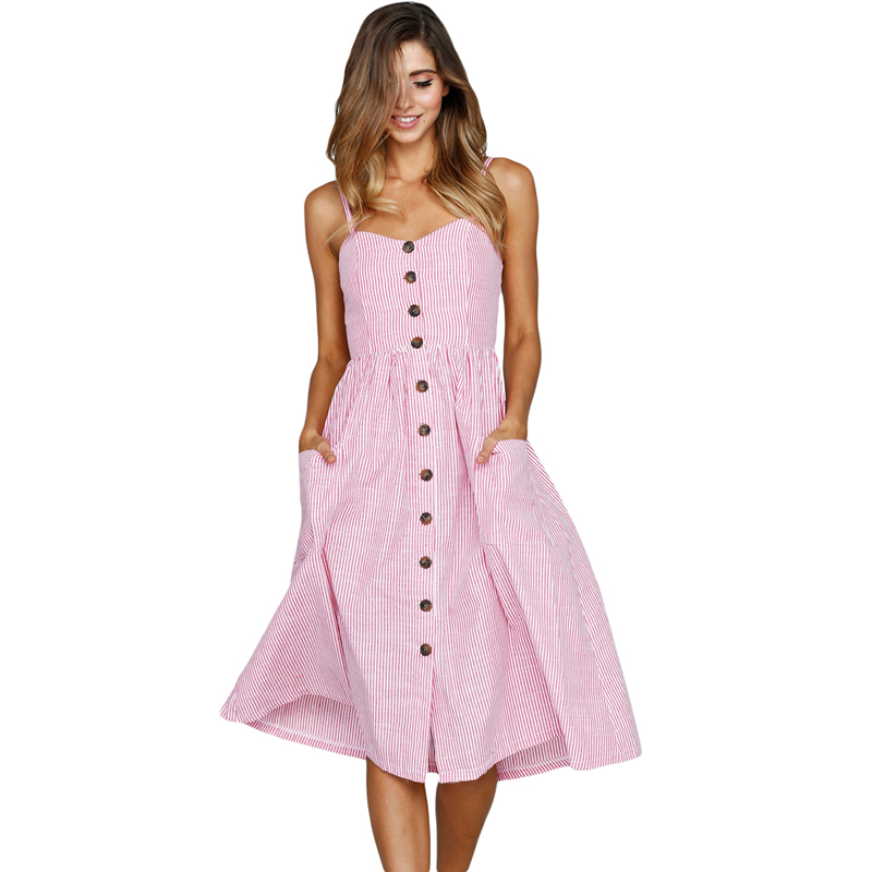 Slightly neckline Midi Dress Button Down Front Lady Fashion Dress фото