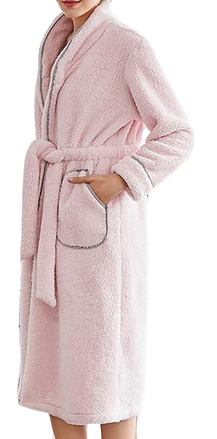 Get Quotations · XQS Womens Warm Comfort Plush Solid Pockets Bathrobe  Flannel Robes 783d97176