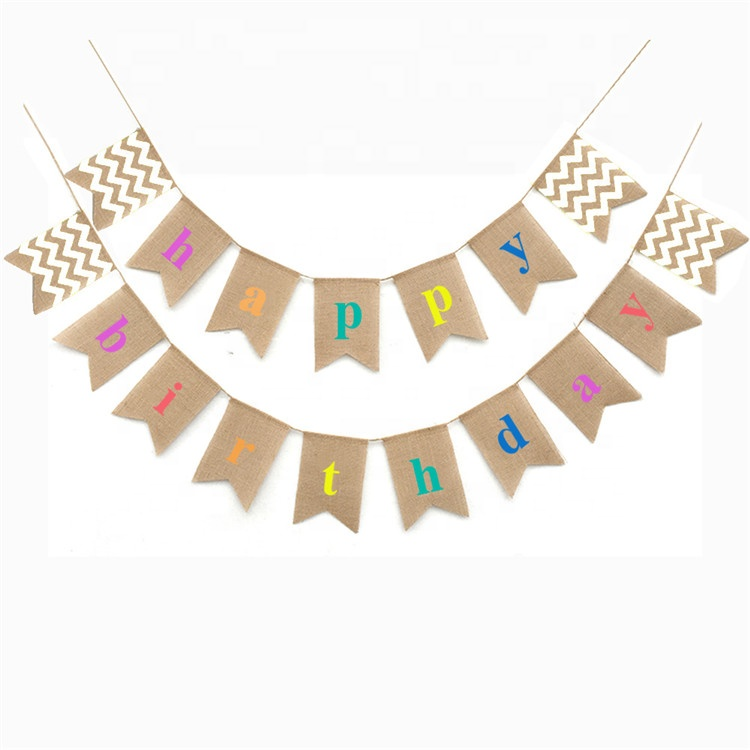2.5 Meters Happy Birthday Jute Hessian <strong>Cloth</strong> Burlap <strong>Banner</strong> Bunting Hanging <strong>Banners</strong> for Party Supplier