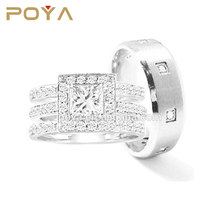 POYA Jewelry 2 Piece womens 925 Sterling Silver and mens Stainless Steel Wedding Rings Set