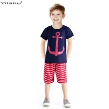 Summer 2015 Baby Boy Clothing Set Children Sport Suits 100% Cotton Children's Clothing Set T Shirt+Pant Fantasias Infantis CF101